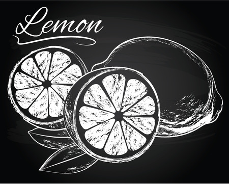 Vector Lemons with leaves on the chalkboard background