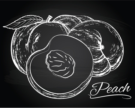 pitted: Vector illustration of tasty peaches on the chalkboard background