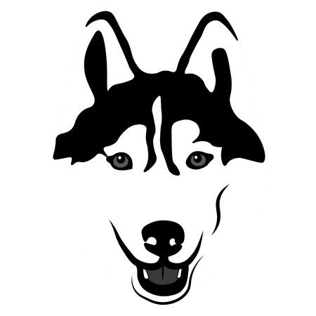 Siberische Husky Portrait. Embleem van een Hond in zwart-wit Stock Illustratie