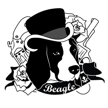 beagle: Beagle Portrait. Emblem of a Dog in Black and White