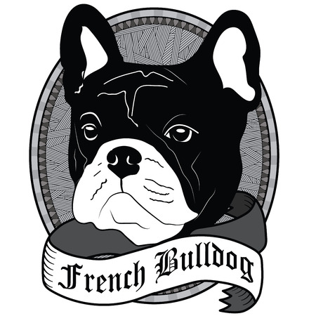 French Bulldog Portrait. Emblem of a Dog in Black and White Illustration