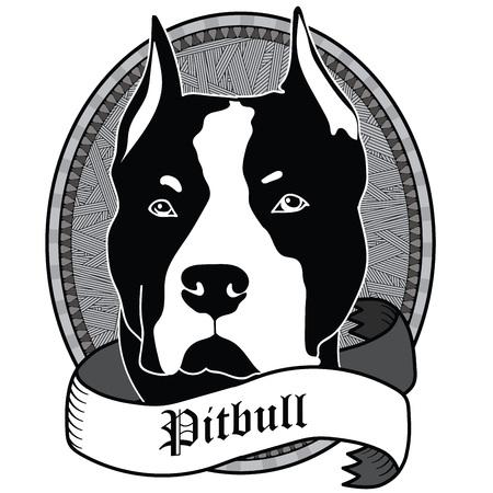 ピットブルの肖像画。黒と白の犬のエンブレム  イラスト・ベクター素材