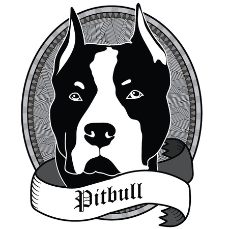 alert ribbon: Pitbull Portrait. Emblem of a Dog in Black and White