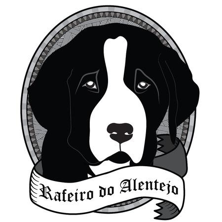alert ribbon: Vintage Rafeiro do Alentejo Portrait. Emblem of a Dog in Black and White