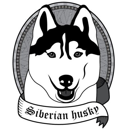 husky puppy: Vintage Siberian husky Portrait. Emblem of a Dog in Black and White