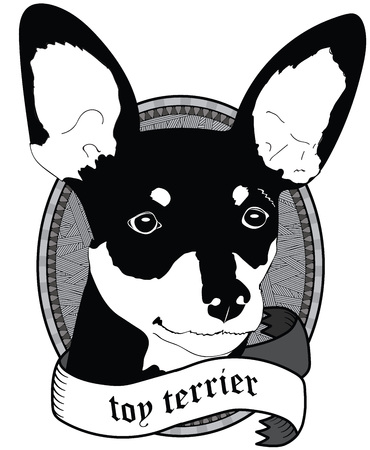 toy terrier: Vintage Toy terrier Portrait. Emblem of a Dog in Black and White