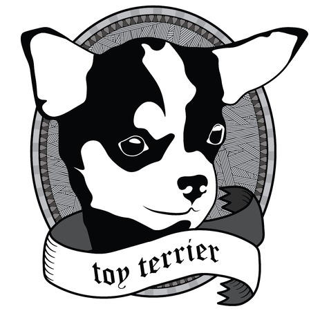 close: Vintage Toy terrier Portrait. Emblem of a Dog in Black and White