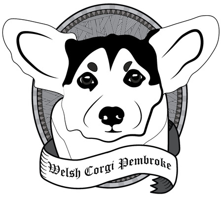 pembroke: Vintage Welsh corgi pembroke Portrait. Emblem of a Dog in Black and White Illustration