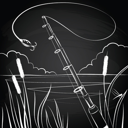 Fishing bait near the pond on the chalkboard background