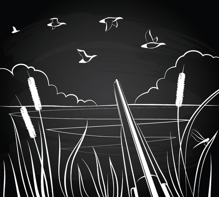 duck hunting: Duck hunting with a double-barreled shotgun on the pond