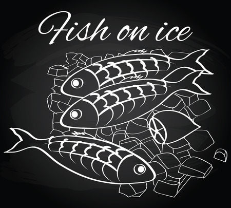 fishy: Seafood. Vector fresh fish and lemon on the ice on the chalkboard background