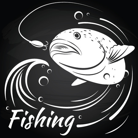 salmon leaping: Fish jumping out of water to grab the bait vector illustration Chalkboard background.  Salmon. Fishing. Spoon