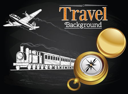 pilot cockpit: Travel by transport, compass, train and plane on the chalkboard background