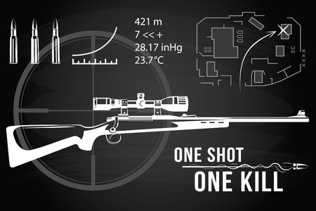 sharpshooter: Set of firearms sniper rifles, tactical map, bullet flying