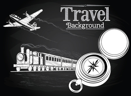Travel by transport, compass, train and plane on the chalkboard background