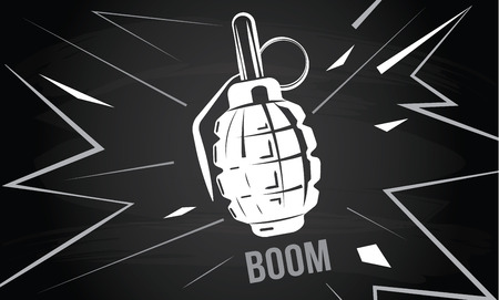 grenade: hand grenade, bomb explosion, weapons army weapon, boom bang Illustration