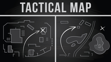 Tactical map of the fighting, Strategy, illustration on the chalkboard background Illustration