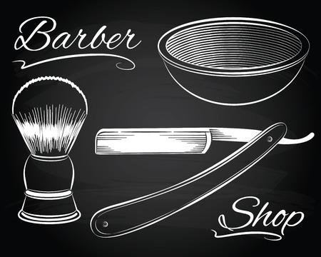straight edge: Vintage barber shop shaving, straight razor on the chalkboard background Illustration