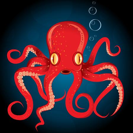 Illustration octopus. Cartoon octopus animal underwater.