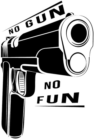 gun license: Pistol 1911 gun fire. 45 caliber. Pistol emblem. Criminal arm pistol gun and danger military weapon. No gun no fun Illustration
