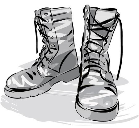 botas: botas del ejército de edad. cuero militar botas gastadas. Vector ilustración gráfica