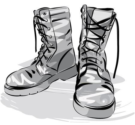 Vecchi caricamenti del sistema dell'esercito. pelle militare stivali indossati. Grafica vettoriale illustrazione
