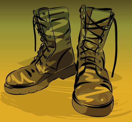army boots: Old army boots. Military leather worn boots. Vector graphic illustration