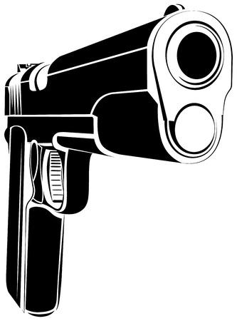 automatic pistol: Pistol 1911 gun fire. 45 caliber. Pistol emblem logo. Criminal arm pistol gun and danger military weapon.
