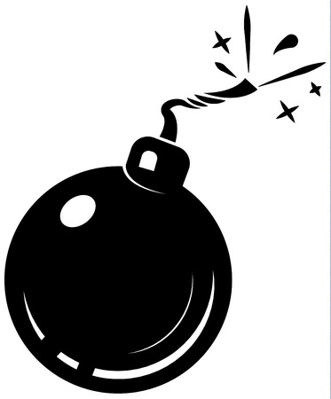 heavy risk: black bomb icon, with burning wick, isolated on white