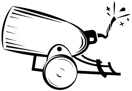 howitzer: retro cannon, vintage gun, weapon war icon vector