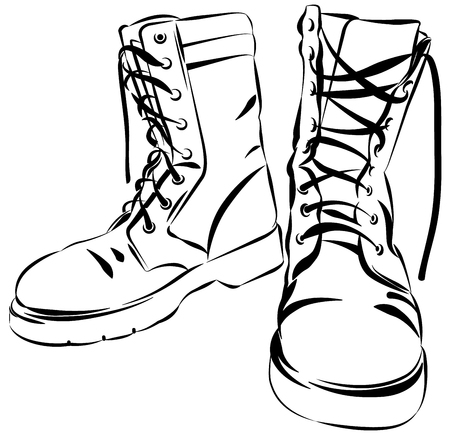 worn: Old army boots. Military leather worn boots. Vector graphic illustration