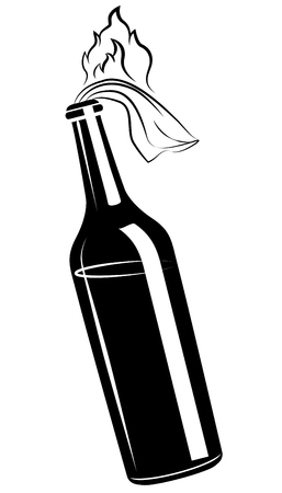 Molotov cocktail, glass bottle filled with gasoline, vector icon Illustration