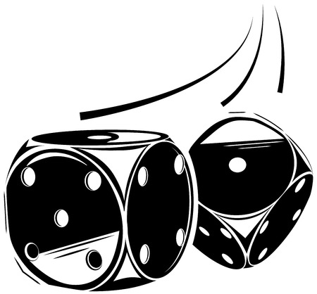 Vector illustration throwing two dice, game casino icon