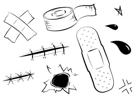 医療・ ヘルスケア、粘着包帯を設定します。ベクトル図