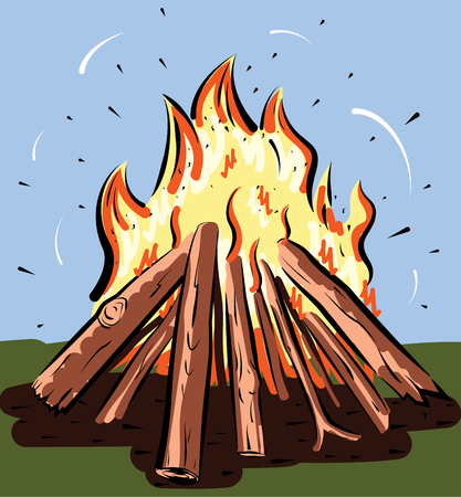 Vector illustration of burning bonfire with wood. Camping fire background. Фото со стока