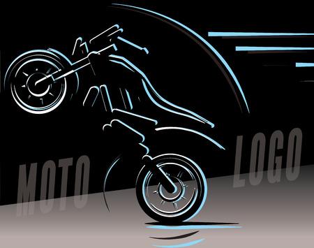 オートバイのロゴの図、モトクロス フリー スタイル  イラスト・ベクター素材