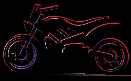 オートバイのモトの図の黒の背景に
