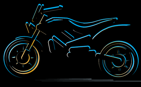 Motorcycle on black background, moto illustration