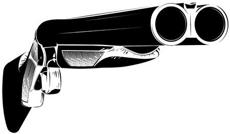 Vector illustration black and white shotgun isolated background Vettoriali