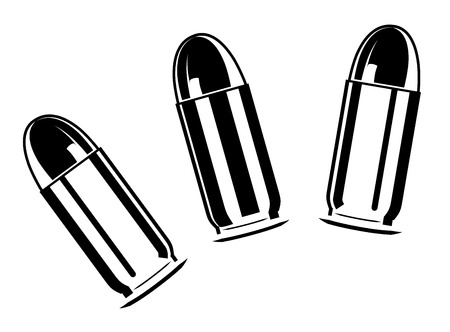 Set of bullets for pistol isolated on white