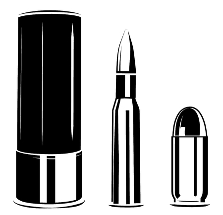 a Vector set bullet caliber of weapon isolated on white