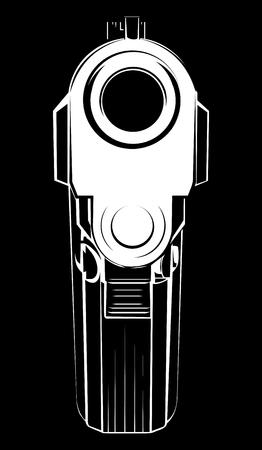 ●ベクトルイラストピストル9口径。犯罪者の腕ピストル銃と危険な軍事武器。