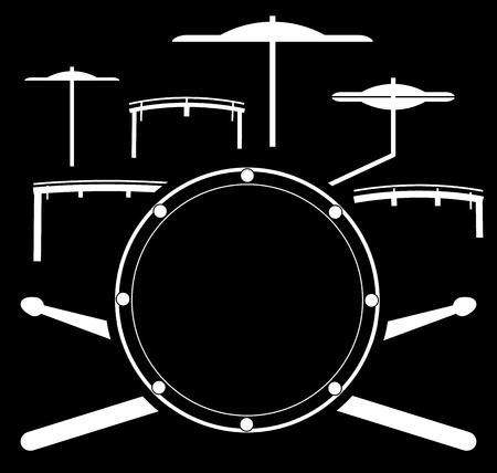 ●ベクトルイラストドラムキット。楽器ドラムスティック  イラスト・ベクター素材
