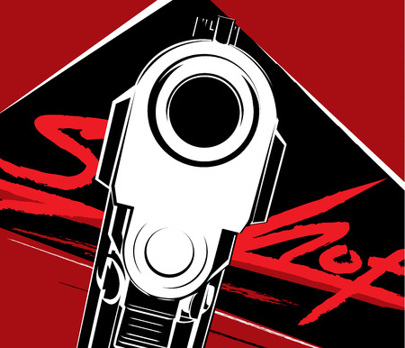 Vector illustration of a pistol poster template Иллюстрация