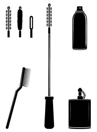 Ramrod, brushes, spray, oil can for cleaning gun. Cleaning tools set icon vector