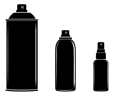 Aerosol spray can, cosmetic bottle set vector