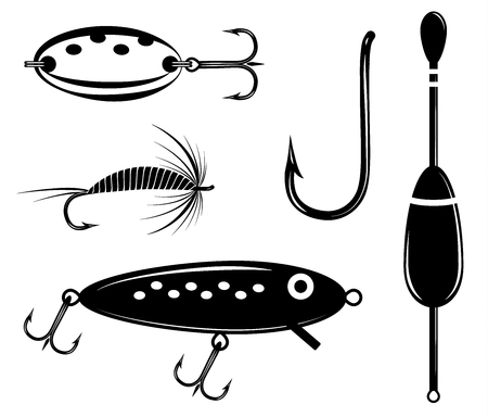 Fishing set vector. Artificial fly, wobbler, lure, float, hook
