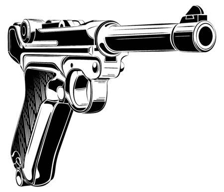 retro pistol vector.