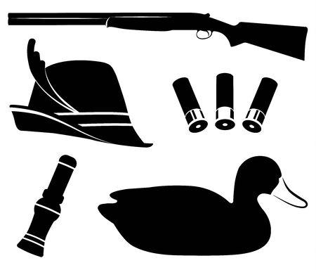 Hunting set vector. Duck hunting. Shotgun, duck call , decoys, hat, shell Иллюстрация
