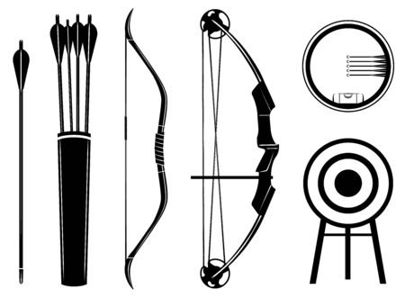 Bow set icon vector illustration. Bow, arrow, sight, quiver, target,